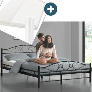 Juskys Metallbett Toskana 140 x 200 cm schwarz – Komplett Set mit Matratze - Bett mit Lattenrost und Kaltschaummatratze – modern & massiv – große Liegefläche