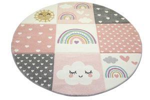 Kinderzimmer Teppich Spielteppich Regenbogen Punkte Herzchen Wolken rosa creme grau Größe - 140x200 cm