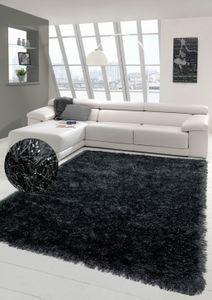Shaggy Teppich Hochflor Wohnzimmerteppich Glitzer in Anthrazit Größe - 200 x 290 cm