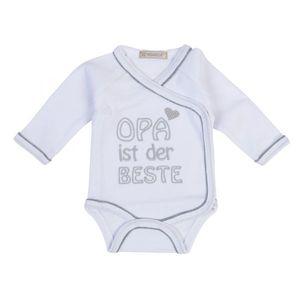 """Milarda Baby Body Wickelbody """"OPA ist der BESTE"""", weiß-grau, Gr. 50-74 Größe - 56"""