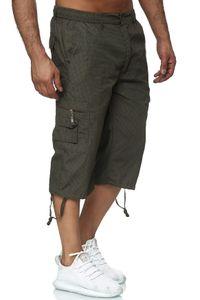 Max Men Herren Bermuda Cargo Shorts Kurze 3/4 Freizeit Hose Leichte Gummibund Schlupfhose, Farben:Grün, Größe Shorts:L