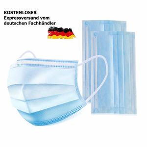 100 Stück Einweg Atem Mundschutz  Schutzmaske Gesichtsmaske Gummi Filter 3-lagig