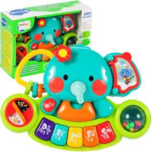MalPlay Elefant Baby Spieltisch Musikspielzeug   Baby erstes Keyboard   Licht & Sound   mit Tiergerausche   Babyspielzeug Lernspielzeug für Kinder ab 6 Monaten
