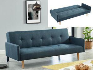 Schlafsofa 3-Sitzer MAURICE - Stoff - Blau
