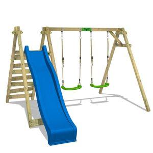 FATMOOSE Kinderschaukel Schaukelgestell JollyJay mit blauer Rutsche Schaukel, Schaukelgerüst, Doppelschaukel, Holzschaukel