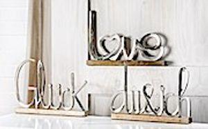 Gilde Alu Schriftzug auf Holzbrett L=5,0cm B=43,0cm H=29,0cm Du & Ich