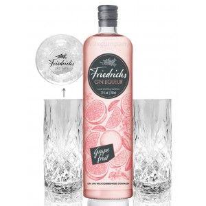 Friedrichs Gin Liqueur Grapefruit 0,7l 700ml (31% Vol) + 2x Friedrichs Longdrink Gläser Gin Tonic Bar- [Enthält Sulfite]