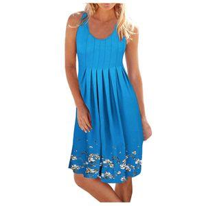 Damen Sommer New Style O-Ausschnitt Print Casual Ärmelloses Strandkleid Kurzes Kleid Größe:L,Farbe:Blau