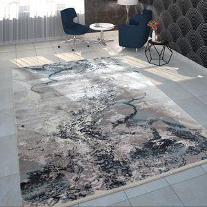 Teppich Wohnzimmer Grau Weiß Blau Polyacryl Kurzflor Modern Marmor Design, Grösse:160x230 cm