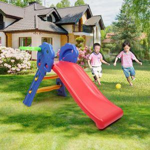 JEOBEST Kinderrutsche Rutsche Kinder mit Basketballkorb Gartenrutsche Wellenrutsche Kleinkinderrutsche 106x59x77cm