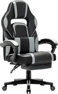 Gaming Stuhl Bürostuhl Schreibtischstuhl Gamer Stuhl Höhenverstellbar mit Fußstützen, Grau
