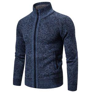 Herren Winter Rollkragenpullover Reißverschluss Langarm Strickpullover Top Outwear Mantel Größe:M,Farbe:Navy