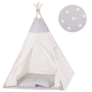 Tipi Zelt Kinder Spielzelt Baumwolle 2 Kissen Kinderzelt 160x120x100 cm - Grau/Sterne