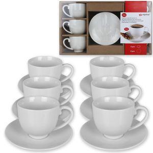 12tlg. Espresso Tassen Set Kaffeetassen Espressotassen mit Untertassen weiß
