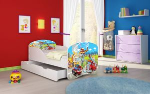 ACMA I Jugendbett Kinderbett Junior-Bett Komplett-Set mit Matratze Lattenrost Weiß 36 Feuerwehr 160x80 + Bettkasten