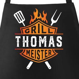 Grill-Schürze für Männer Grillmeister Biker personalisiert eigener Name Baumwoll-Schürze Moonworks® schwarz unisize