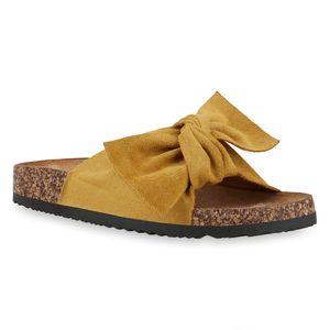 Mytrendshoe Damen Sandalen Pantoletten Hausschuhe Schleifen Schuhe 830663, Farbe: Gelb, Größe: 38