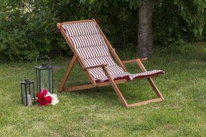 Aurora Liegestuhl inkl. Wendekissen, Holz: natur Kissen: rot /  creme gestreift