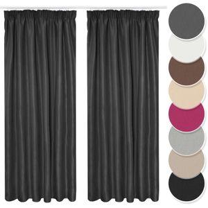 Melody Vorhang 2er Set Gardine Curtain Blickdicht Kräuselband schwarz 140x175 cm Jugendzimmer #9018