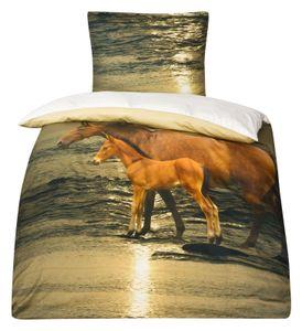 Mako Satin Pferde Bettwäsche Pferdebettwäsche 135x200 MOON Digitaldruck D1562/98