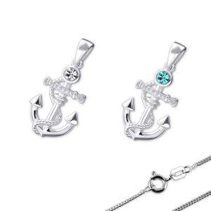 Kette Silber Anker Kristall Anhänger mit Halskette, Farbe:Blau