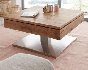 Couchtisch Monrovia - Ast Eiche Echtholz Furnier und Edelstahl Wohnzimmer Tisch quadratisch 75 x 75 cm drehbar