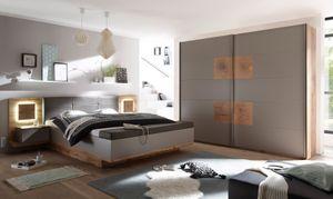 Schlafzimmer Komplett Set 4-tlg. CAPRI XL Bett 180 Kleiderschrank grau Wildeiche