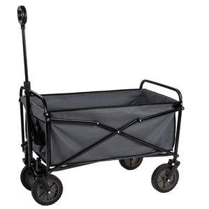 Camp Active Trolley, Zusammenklappbarer Bollerwagen für Einkäufe, Kompakte Lagerung, Rollwagen, Belastbarkeit 70 KG, 63x52x82 cm, Schwarz