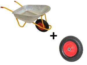 Profi Schubkarre 200 kg 120 l mit Ersatzrad Bau Garten Luftrad Transport Karre Stahl verzinkt