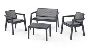 Keter Lounge Set Emily 7-teilig, 2 Sessel + 2er Sofa + 1 Tisch + 3 Sitzauflagen, graphit