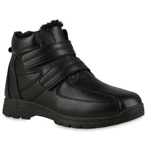VAN HILL Herren Warm Gefütterte Winter Boots Stiefel Profil-Sohle Schuhe 837903, Farbe: Schwarz, Größe: 44
