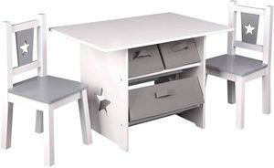WOLTU Kindersitzgruppe, 1 Kindertisch und 2 Stühle, Kindertisch mit Stauraum aus Holz, mit 3 Aufbewahrungskörben Grau+Weiß
