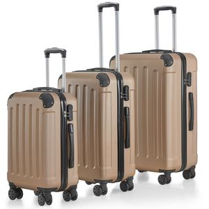 Juskys Hartschalen-Koffer Set Yara 3-teilig – 3 Trolley mit Schloss, Griff und 360° Rollen – Reisekoffer Hartschale leicht champagner