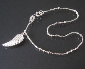 Armkette Armband Veneziakette 925 Silber 19cm Perlen Flügel 18310-19