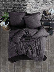 Bettwäsche 200x200 cm. 3 teilig set, Anthrazit, 100% Baumwolle/Renforcé mit Reißverschluss Atmungsaktiver Monza V1