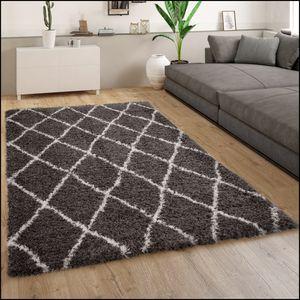 Teppich Grau Wohnzimmer Weich Kuschelig Rauten Muster Shaggy Flokati Hochflor, Grösse:160x230 cm