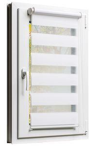 TEXMAXX Fensterrollo  120 x 150 cm Duo-Rollo Doppelrollo Sonnenschutz mit Kettenzug und Klemmfix ohne bohren in WEISS, Leisten in Weiss - inkl. Zubehör