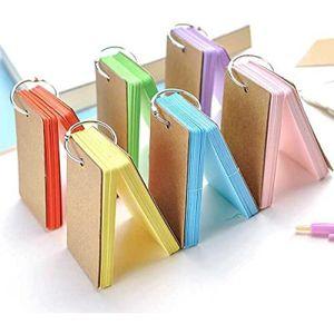 Lernkarte Pocket,Karteikarten 6er Pack Papierkarten mit Ring Memo Blanko Flash Card zur Überarbeitung des Wortschatzes DIY Muticolour 9 * 5.5CM