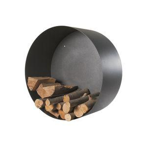 Holzkorb zur Wandbefestigung schwarz