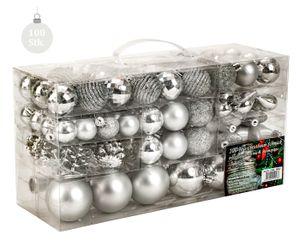 100 teiliges Set Lamettini Silber Weihnachtskugeln Spitze Lametta Anhänger