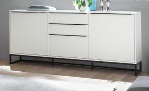 Sideboard Lille in weiß matt lackiert Kommode mit Metallgestell schwarz Anrichte mit Soft-Close 184 x 69 cm