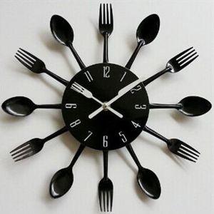 Besteck Uhr Besteckuhr Küchenuhr Wanduhr Analoger Uhr Metall 31cm in Schwarz
