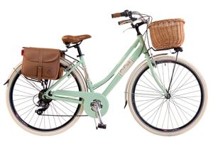 Via Veneto by Canellini Fahrrad Citybike Frau Aluminium mit Korb und Tasche - Hellgrün 50