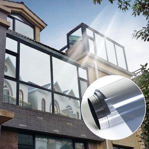 Einweg Gespiegelte Sichtschutzfolie Anti-UV Static Cling Stickers 90x200cm 60x200cm Silber Modern Fensterfolie Einfarbig