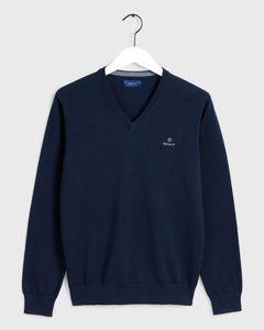 Gant Herren Pullover Classic Baumwolle mit V-Ausschnitt, Größe:3XL, Farbe:Blau(433)