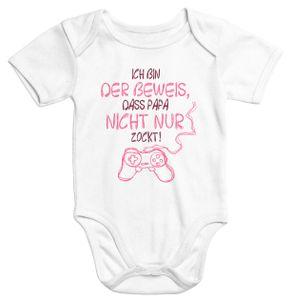 Kurzarm Baby Body Ich bin der Beweis dass Papa nicht nur zockt Gamer Zocker Nerd Spruch lustig Moonworks® Mädchen 6-12 Monate
