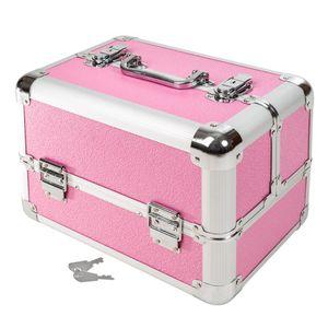 tectake Kosmetikkoffer mit 4 Ablagefächern - rosa