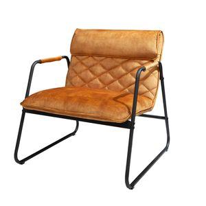 Retro Lounge Sessel MUSTANG LOUNGER senfgelb mit Ziersteppung Wohnzimmersessel Loungesessel