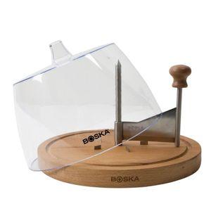 Boska Käseschaber Amigo mit Glocke / einfach zu verwenden / hält Käse langer frisch / Holz / Kunststoff / Braun