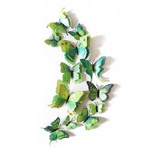 Oblique Unique 3D Schmetterlinge 12er Set Wandtattoo Wandsticker Wanddeko - grün